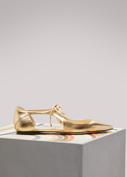 Jimmy Choo Gold Leather Vanessa Flat Ballerinas