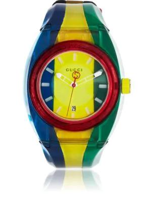 Gucci Sync Rubber Strap Watch, 46Mm In Multicolour