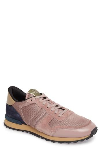 7f2319b2fe01d Valentino Rockrunner Mesh And Suede Trainers In Lipstick | ModeSens