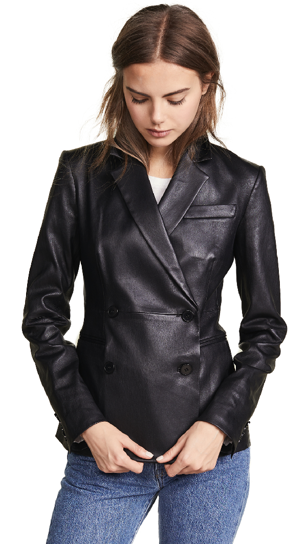 Theory Bristol Double-breasted Leather Blazer In Black