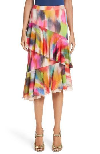 Fuzzi Ruffle Print Tulle Midi Skirt In Multicolor