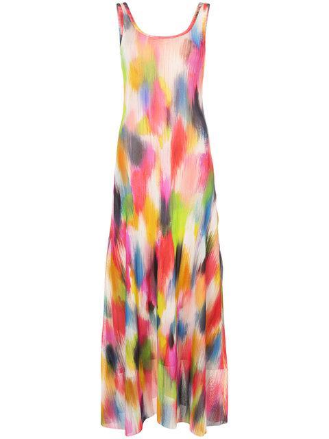 Fuzzi Brushstroke Print Tulle Maxi Dress In Multicolor