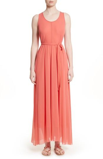 Fuzzi Belted Tulle Maxi Dress In Cocomero1
