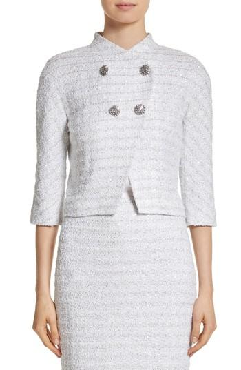 St. John Frosted Metallic Tweed Jacket In Bianco Multi