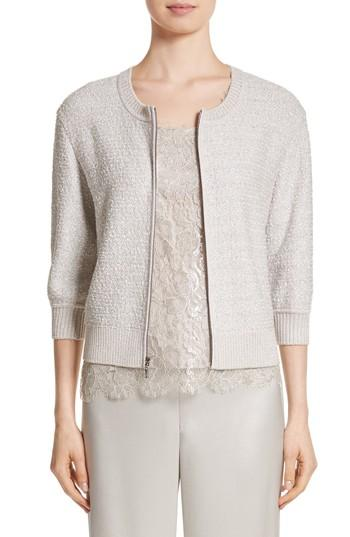 St. John Metallic Eyelash Knit Jacket In Silver Multi