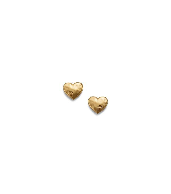 6aac52d15 Tory Burch Heart Stud Earrings In Vintage Gold | ModeSens