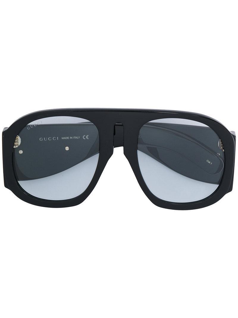2b0cbe94eb Gucci Eyewear Oversized Round Frame Sunglasses - Black