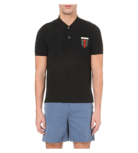f78adc93ac60 Gucci Crest Patch Stretch Cotton PiquÉ Polo, Navy In Blue | ModeSens
