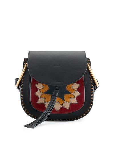 50b304bb33d94 ChloÉ Hudson Small Rosace Patchwork Saddle Bag, Black   ModeSens