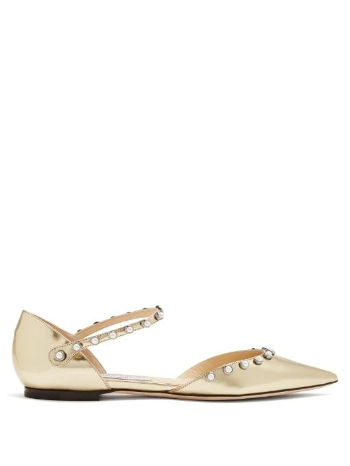 5ccfd843925 Jimmy Choo Leema Faux Pearl-Embellished Mirrored-Leather Point-Toe Flats In  Gold