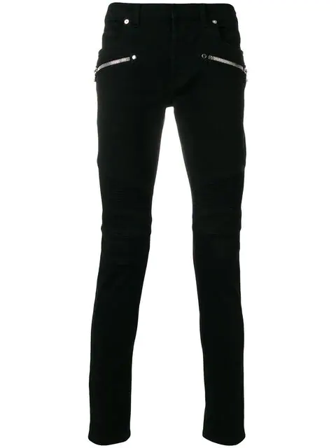 6917c234 Balmain Distressed Mid-Rise Skinny Biker Jeans In Black | ModeSens