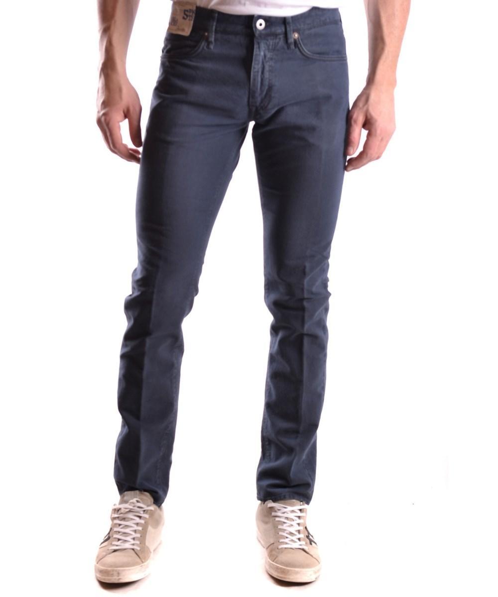 Incotex Men's  Blue Cotton Pants