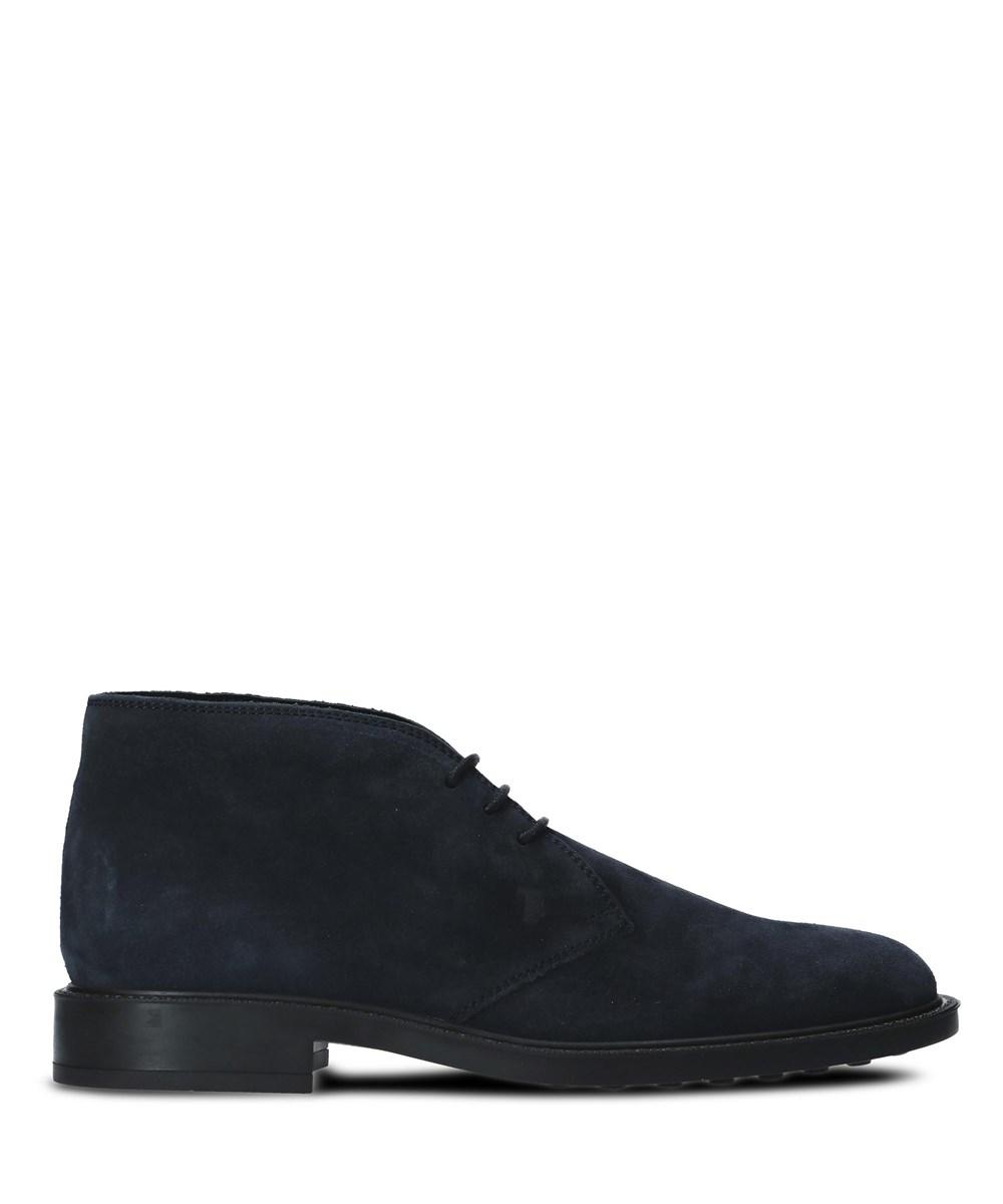 Tod's Men's Dark Navy Suede Desert Ankle Boots In Blue