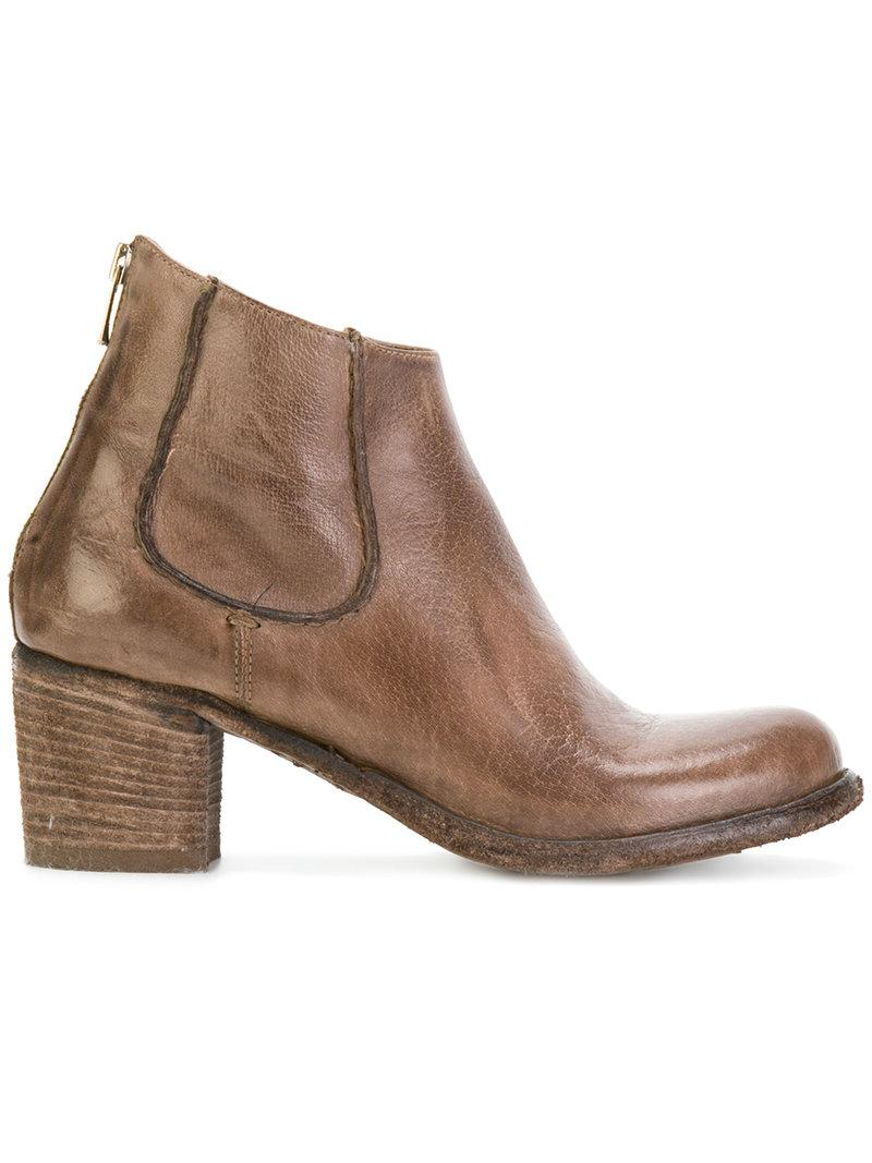 Officine Creative Brushed Ankle Boots In Brown