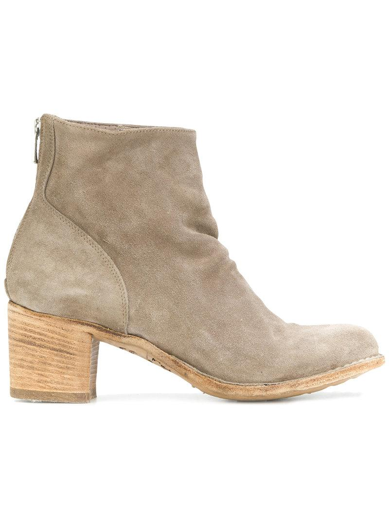 Officine Creative Brushed Ankle Boots In Neutrals