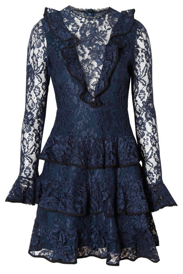 Alexis Ruffle-Trimmed Corded Lace Dress In Navy, Blue