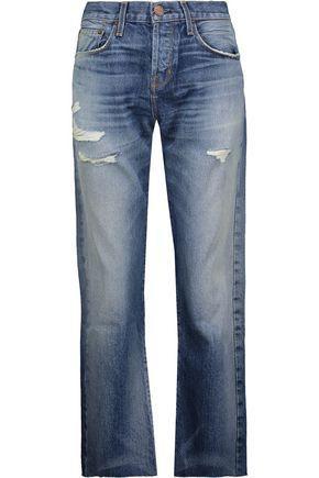 Current Elliott Woman The Crossover Distressed Mid-Rise Straight-Leg Jeans Mid Denim