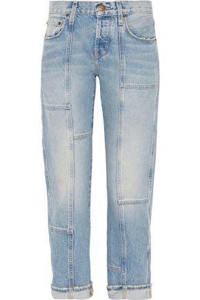Current Elliott Woman The Patchwork Crossover Mid-Rise Straight-Leg Jeans Light Denim