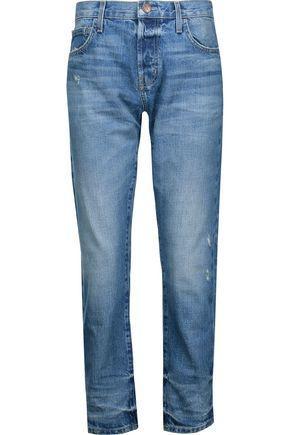 Current Elliott Woman Distressed Mid-Rise Slim-Leg Jeans Mid Denim