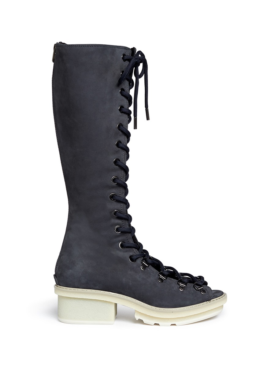3.1 Phillip Lim 'Mallory' Open Lace-Up Sandal Boots In Marine