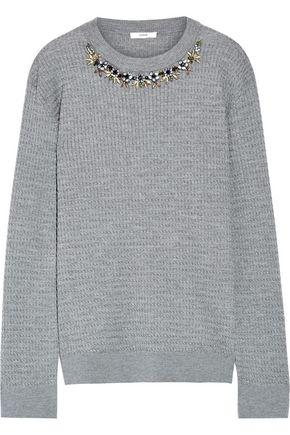 Erdem Woman Lana Crystal-Embellished Cable-Knit Stretch Wool-Blend Sweater Gray