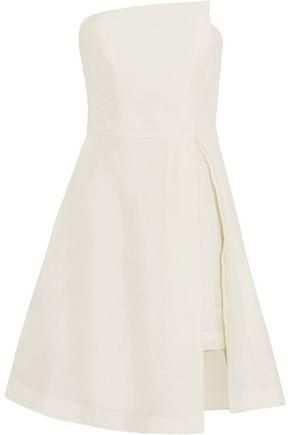 Halston Heritage Strapless Jacquard Mini Dress In White