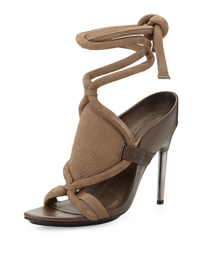 3.1 Phillip Lim Marquise Metal-Heeled Leather & Suede Ankle-Tie Sandals In Clay/ Wren