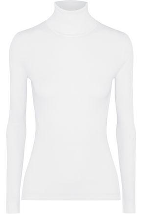 Michael Kors Woman Ribbed Stretch-Knit Turtleneck Sweater White