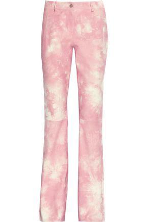 Michael Kors Printed Suede Flared Pants In Baby Pink