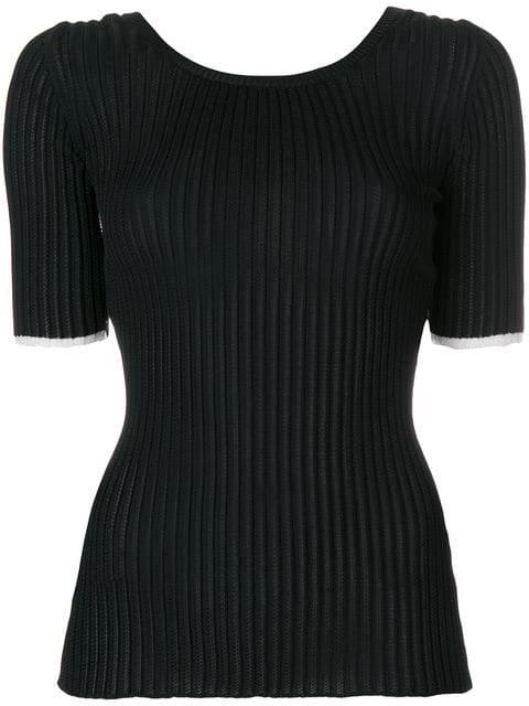 Proenza Schouler Rib-Knit Scoopback Top In Black