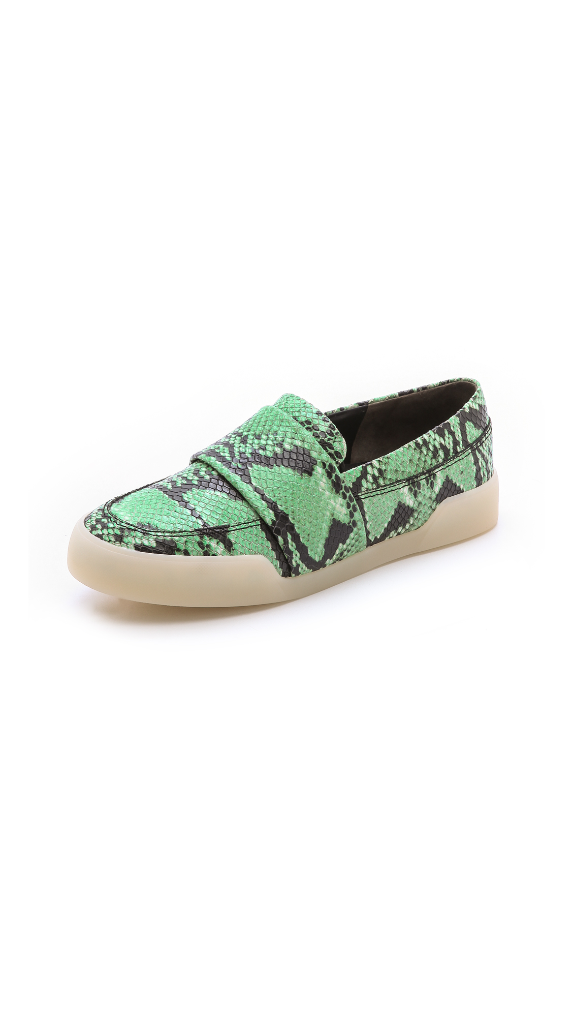 3.1 Phillip Lim Morgan Snake-Effect Leather Slip-On Sneakers In Green