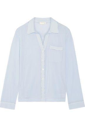 Skin Woman Cotton-Gauze Pajama Top Sky Blue