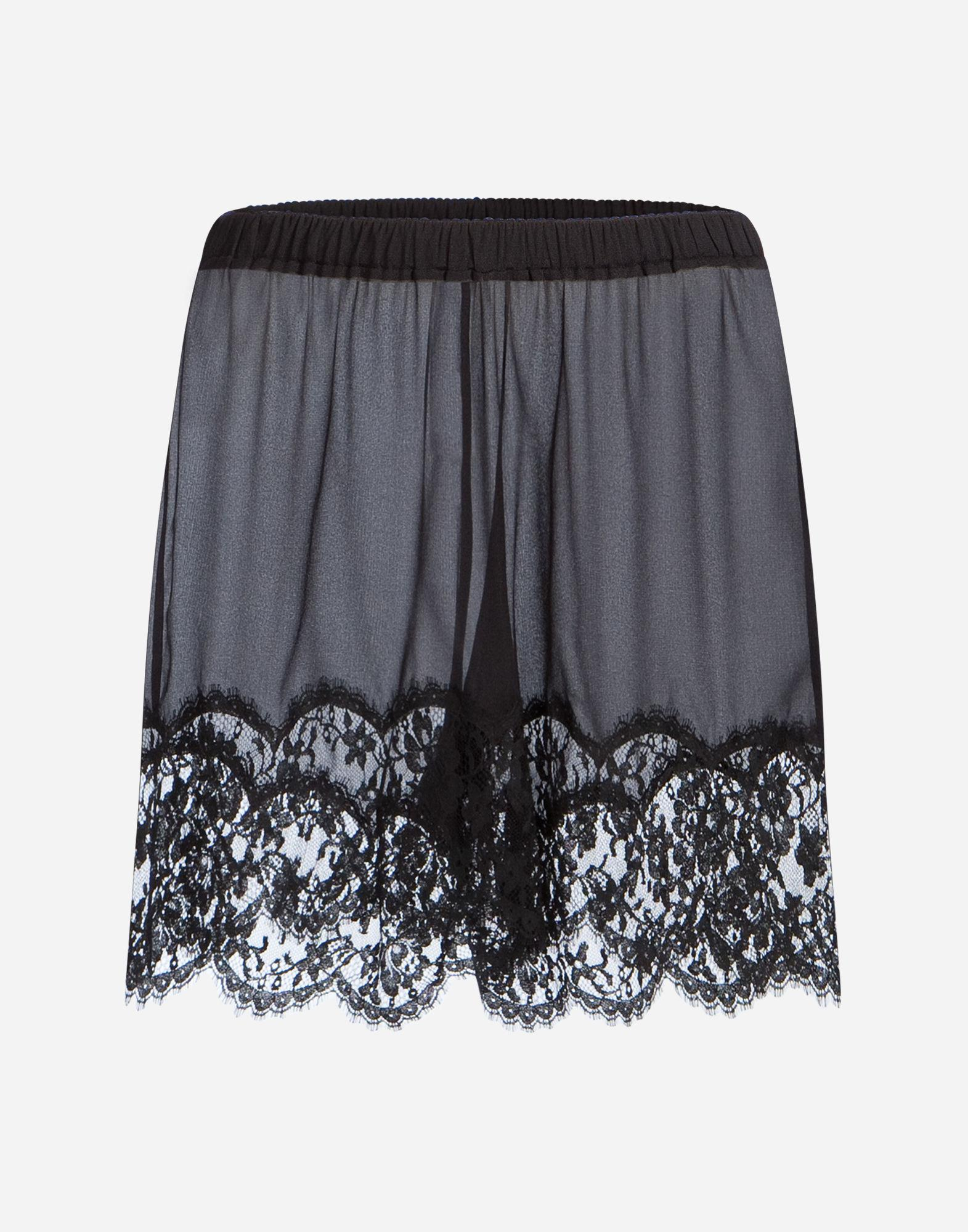 Dolce & Gabbana Silk Lingerie Shorts With Lace Trim In Black