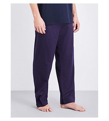 Derek Rose Naturally Checked Brushed-Cotton Pyjama Bottoms In Navy Red
