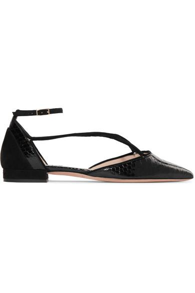 Giorgio Armani Suede-Trimmed Python Point-Toe Flats In Black