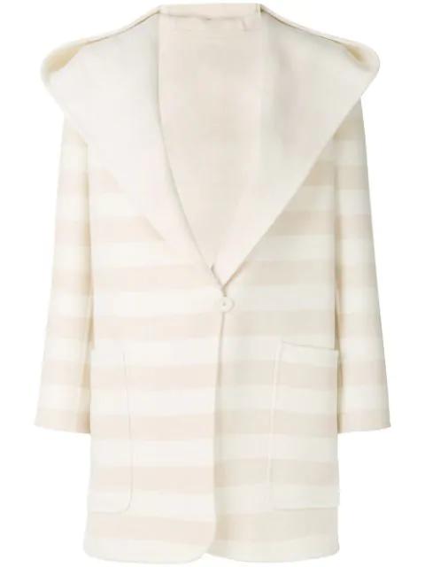 Max Mara Arte Virgin Wool Coat With Hood In White