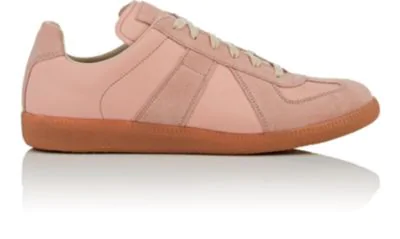 Maison Margiela Men's Replica Suede & Leather Low-Top Sneakers In Rose