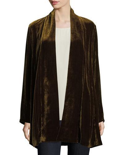 9da75c9e819 Eileen Fisher Velvet Long Shawl-Collar Jacket