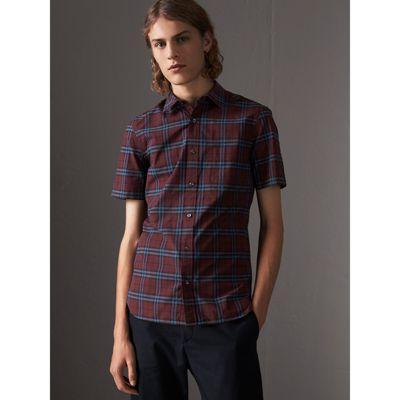 56cd7ecc6225 Burberry Alexander Check Short-Sleeve Sport Shirt In Crimson Red ...