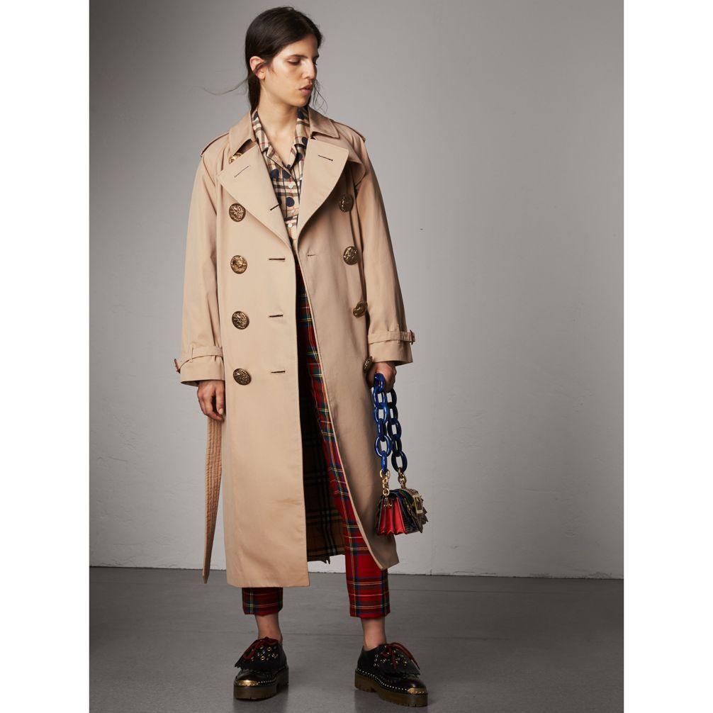 eee3d8eaa4f7 Burberry Bird Button Cotton Gabardine Trench Coat In Honey
