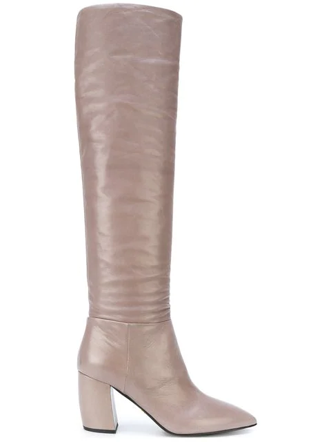 Prada Point-Toe Leather Knee-High Boots In Grey