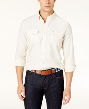 Tommy Hilfiger Men's Custom-Fit Ben Flannel Shirt, Created For Macy's In Bone White