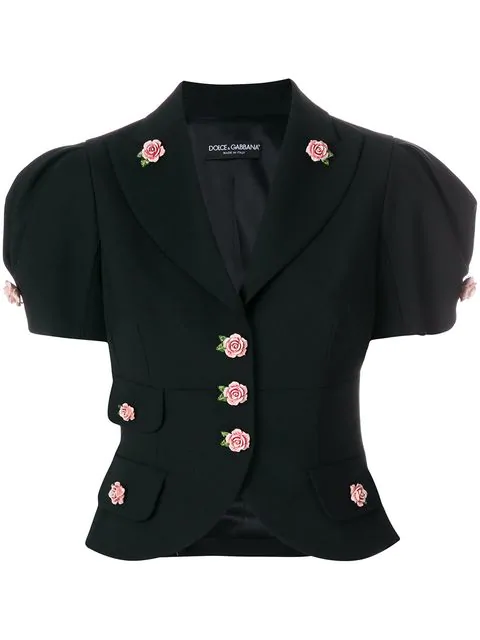 Dolce & Gabbana Single-breasted Short Wool Jacket With Small Roses In Black