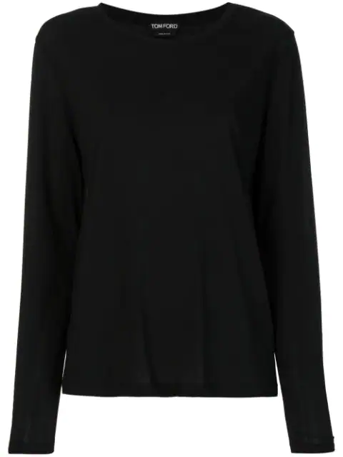 Tom Ford Cotton Long Sleeve Crew Neck Top In Black