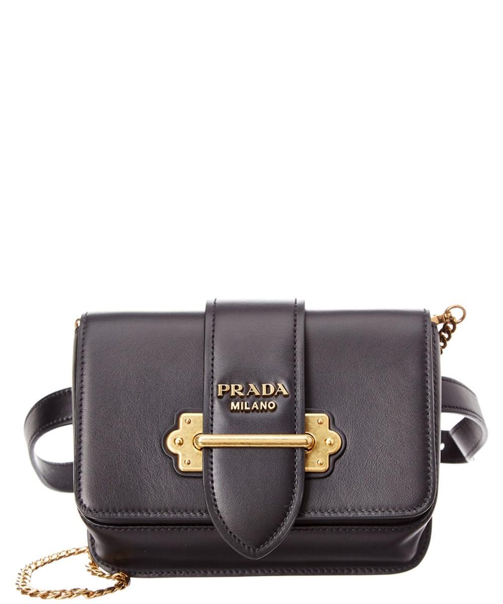 685a86b3ce5d Prada Cahier Textured-Leather Belt Bag In Black