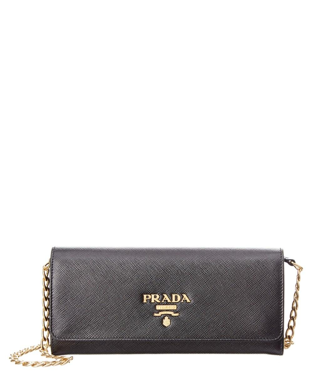 384a62eafd075d Prada Saffiano Leather Wallet On Chain In Black | ModeSens