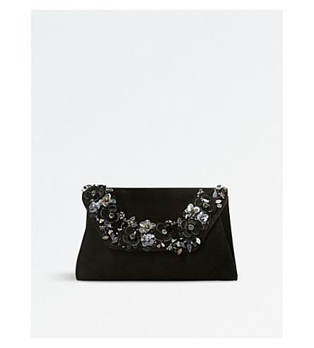 Dune Bathilda Leather Embellished Clutch Bag In Black-Suede