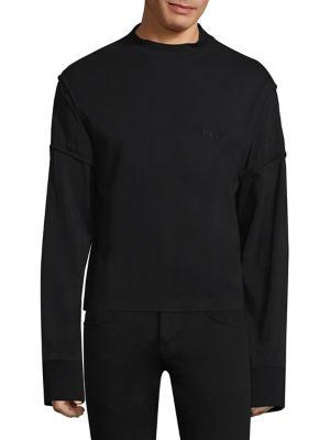 Helmut Lang Distorted Cotton Sweatshirt In Black