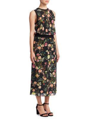 01f3c847daee Theory Lewie Sleeveless Floral-Print Crepe De Chine Long Dress In Black  Multi