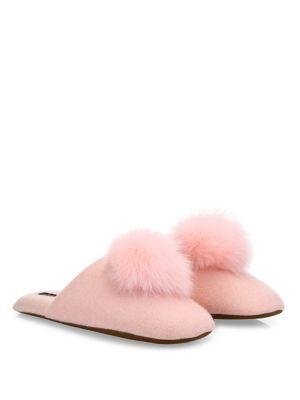 7ee2769dd92 Minnie Rose Cashmere   Fox Fur Pom-Pom Slippers In Pink